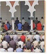Worshipers At Friday Prayers - Masjid Jame - Friday Mosque - Kuala Lumpur - Malaysia Wood Print