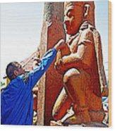 Worshipper At Festival Of Ram Nawami In Kathmandu-nepal    Wood Print