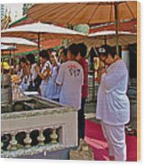Worshippers In Front Of The Royal Temple  At Grand Palace Of Tha Wood Print