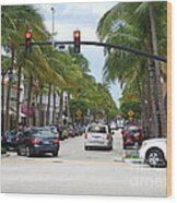 Worth Ave Palm Beach Fl Facing West Wood Print