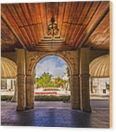 Worth Avenue Courtyard Wood Print by Debra and Dave Vanderlaan