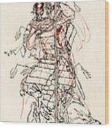 Wounded Samurai Drinking Sake C. 1870 Wood Print by Daniel Hagerman