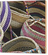 Woven Baskets Wood Print