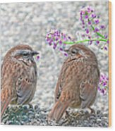 Wren Bird Sweethearts Wood Print