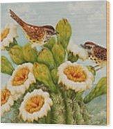 Wrens On Top Of Tucson Wood Print by Summer Celeste