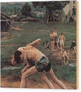 Wrestling Wood Print