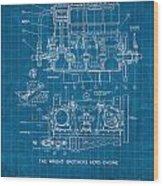 Wright Brothers Aero Engine Vintage Patent Blueprint Wood Print