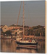 Wrightsville Beach Boat In Harbor Wood Print