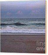 Wrightsville Sunset Waves Wood Print
