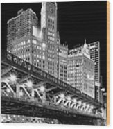 Wrigley Building At Night In Black And White Wood Print