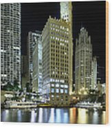 Wrigley Building At Night  Wood Print