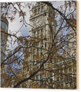 Wrigley Building In Autumn  Wood Print by Leslie Leda