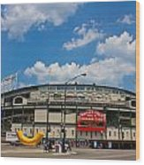 Wrigley Field And Clouds Wood Print