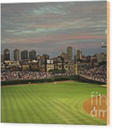 Wrigley Field At Dusk Wood Print by John Gaffen
