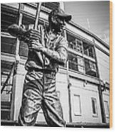Wrigley Field Ernie Banks Statue In Black And White Wood Print by Paul Velgos
