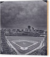 Wrigley Field Night Game Chicago Bw Wood Print