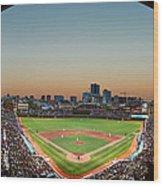 Wrigley Field Night Game Chicago Wood Print