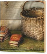 Writer - A Basket And Some Books Wood Print