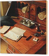 Writer - The Desk Of A Gentleman  Wood Print by Mike Savad
