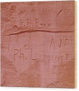 Writing In The Desert Wood Print