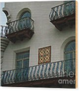 Wrought Iron Balconies Wood Print