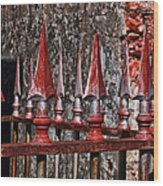 Wrought Iron Fence Spears Wood Print