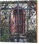 Wrought Iron Gate And Red Door Charleston South Carolina Wood Print