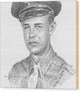 WWII military dad pencil portrait Wood Print