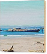 Wwii Ship At Sea Cliff Beach Wood Print