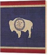 Wyoming State Flag Art On Worn Canvas Wood Print