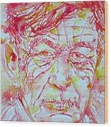 Wystan Auden  Watercolor Portrait Wood Print