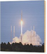 X-37b Orbital Test Vehicle Lifts Off Wood Print
