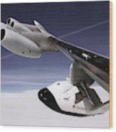 X-38 Spacecraft On B-52 Wing Wood Print
