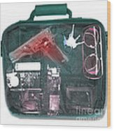 X-ray Of A Briefcase With A Gun Wood Print