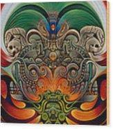 Xiuhcoatl The Fire Serpent Wood Print by Ricardo Chavez-Mendez