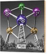 Xmas Atomium  Wood Print