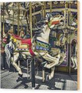 Xmas Carousel Wood Print