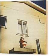 Xmas Decoration With Santa In June Akureyri Iceland Wood Print