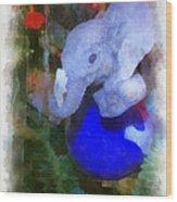 Xmas Elephant Ornament Photo Art 02 Wood Print