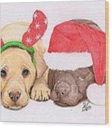 Xmas Pups Wood Print by Deborah Nicholas