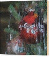 Xmas Red Ornament Photo Art 03 Wood Print
