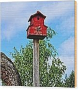 Yachats Red Birdhouse Wood Print