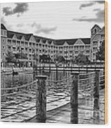 Yacht And Beach Club After The Rain In Black And White Walt Disney World Wood Print