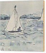 Yacht At Arcachon Wood Print
