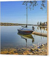 Yacht At The Little Manitou Lake Wood Print