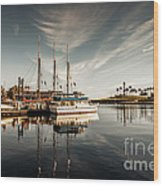 Yacht At The Pier On A Sunny Day Wood Print