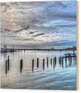 Yacht Storming Morning Wood Print