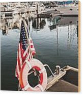 Yacht With American Flag At The Pier  Wood Print