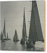Yachting At Cowes�all They Wan - Is A Breeze Wood Print