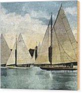 Yachting In Saugatuck Wood Print